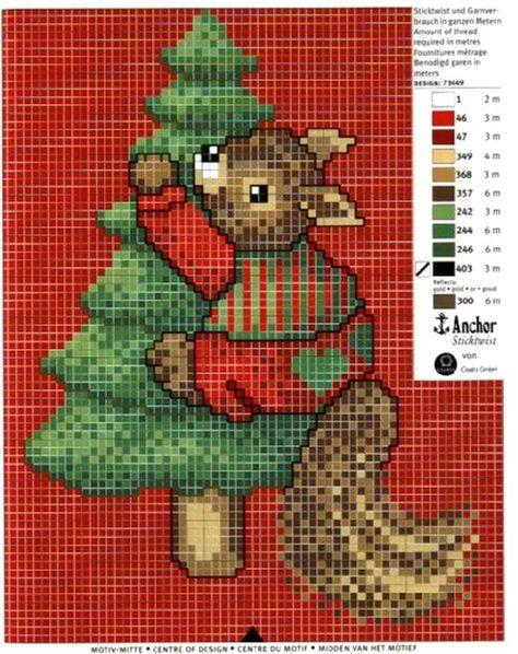♥Meus Gráficos De Ponto Cruz♥: Natal, Squirrel climbing tree