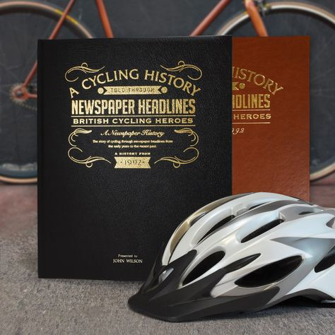 Personalised A3 British Cycling Newspaper Book - British Cycling Heroes Newspaper Book - Black Leather Cover