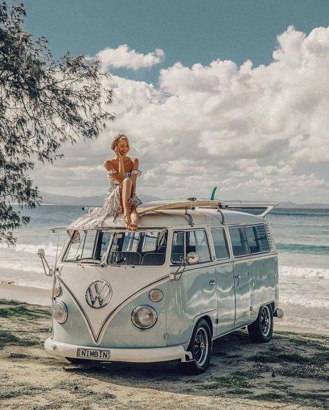 Summer Vibes Beach Ocean Vintage Van Sand Waves Aesthetic Blue