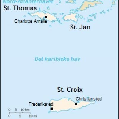 Kort Over Dansk Vestindien Illustration Wikimedia Commons