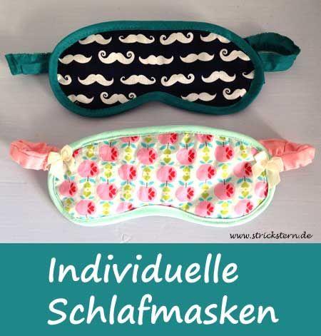 Eine Schlafmaske nähen - einfach und schnell aus Stoffresten selbstgemacht, kostenlose Anleitung und Schnittmuster auf www.strickstern.de