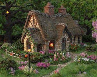 Miniature house Diorama Fairy house Dollhouse Tiny Model Natural Stone Art composition Gift miniature Fireplace Fairy house home house