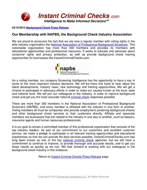 InstantCriminalChecks Membership with NAPBS, the Background - background check release form