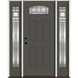 Reliabilt Craftsman 1 4 Lite Decorative Glass Right Hand Inswing Thunder Gray Painted Fiberglass Prehung Entry Doors Entry Door With Sidelights Craftsman Door