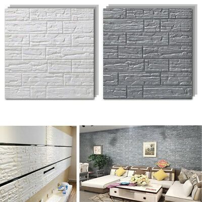 3D Brick Tile Sticker Self-adhesive Wall Panel Decals Home Kitchen Room Decor US
