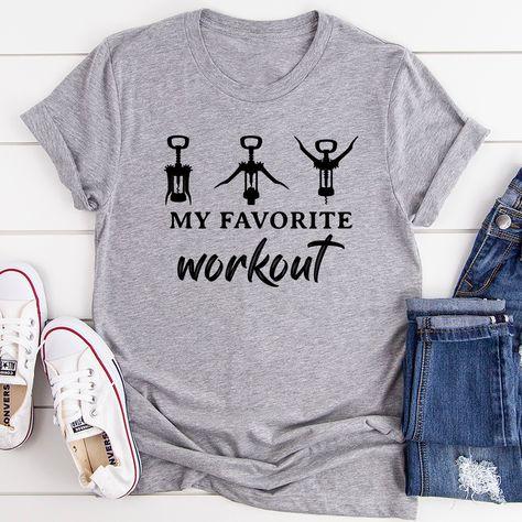 My Favorite Workout Tee #funnymoms #whatiwear #vacationstyle #teacherfashion #millennialmom #dailyparenting #mamalife #casuallook #hotmess #homeschoolmama