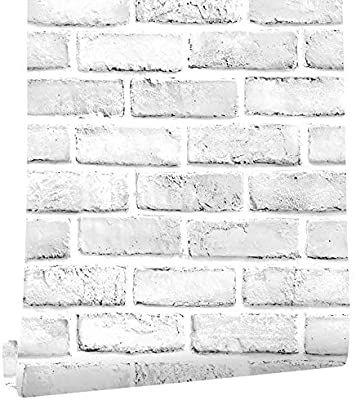 Cohoohome 118 17 7 3d Brick Wallpaper Peel And Stick Wallpaper White Gray Brick Wallpaper Self Ad Room Stickers Self Adhesive Wallpaper Brick Like Wallpaper