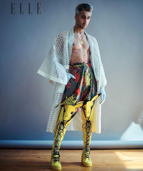 Queer Eyes Tan France shows off some truly special Pikachu boots by GCDS for Elle magazine.