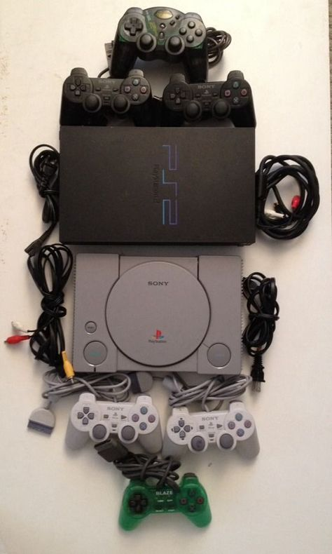 Playstation 1 2 Consoles Ps1 Ps2 Bundle 6 Controllers All Cables Tested Sony Ps1 Ps2 Retro Video Games Playstation Product Launch