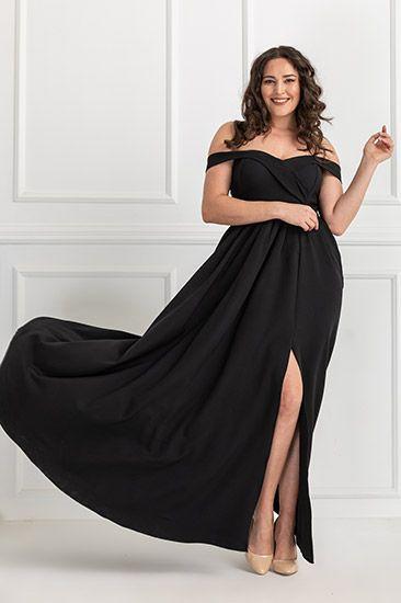 Yan Yirtmac Gogus Detay Abiye Siyah Moda Stilleri Stil Elbiseler