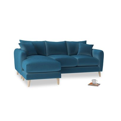 Large Left Hand Squishmeister Chaise Sofa In Twilight Blue Clever