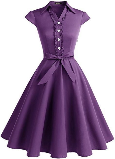 7f7af46ba04e Wedtrend Women's 1950s Cap Sleeves Swing Vintage Party Dresses Multi  Colored WTP10007Purple3XL at Amazon Women's Clothing store: