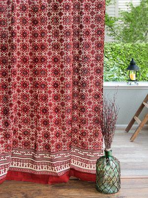 Ruby Kilim Rustic Red Black Lodge Cabin Sheer Curtain Panel