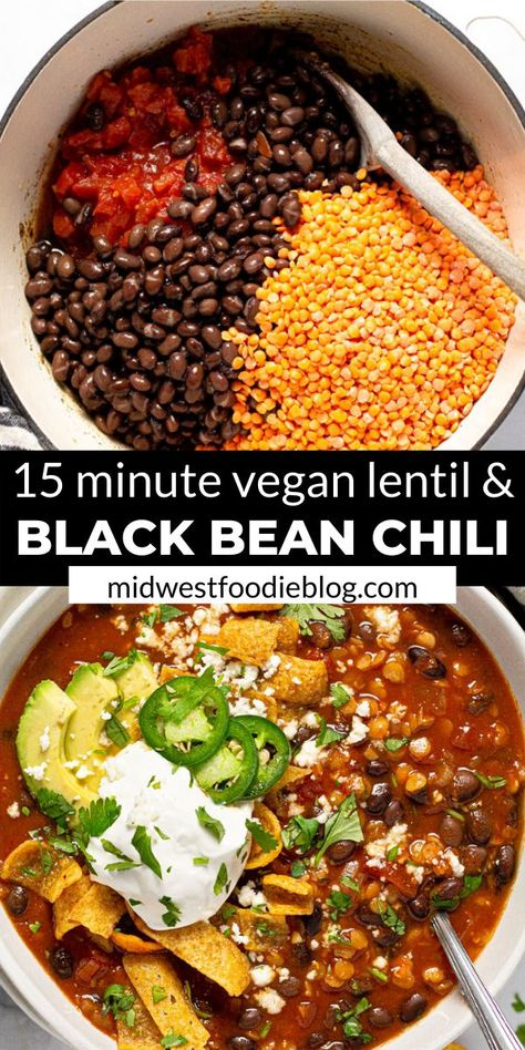 I'm here to let you in on a little secret…healthy food can also be hearty and satisfying! TRY THIS VEGAN BLACK BEAN CHILI! It's loaded with over of your daily fiber in each servi Tasty Vegetarian Recipes, Vegan Dinner Recipes, Veggie Recipes, Whole Food Recipes, Vegan Chilli Recipe, Vegan Black Bean Recipes, Vegan Soups, Black Bean Chili Recipe Vegetarian, Vegetarian Main Dishes