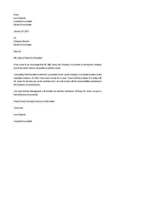 Letter of Intent Job promotion - How to formally promote an - internship letter of intent
