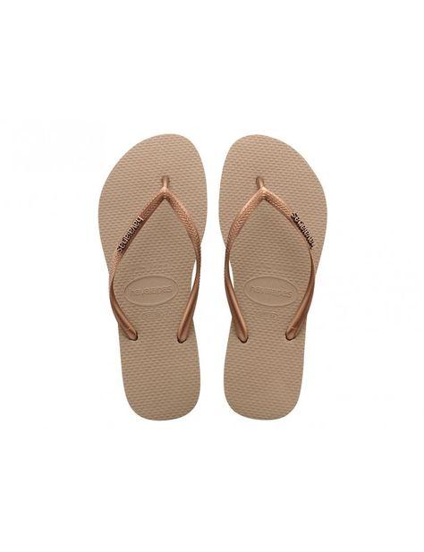 Verkooppromotie 50% korting 100% authentiek Havaianas Slim Logo Metallic slipper - goud | Havaianas for ...