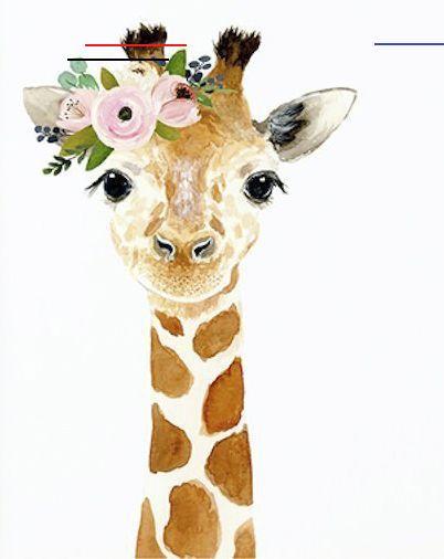 Aquarell Giraffe Woodland Kindergarten Tiermalereien Fuchs Bar