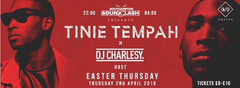 SOTONIGHT | Switch pres. Tinnie Tempah x DJ Charlsey - Southampton - April 2015 - http://www.sotonight.net/event-tickets/switch-pres-tinnie-tempah-x-dj-charlsey-southampton-april-2015/  Tinnie Tempah is coming to Switch Southampton on the 2nd April 2015 as part of a huge weekend of events! Easter Bank Holiday! Tickets:  £8 Early Bird £10 Standard £15 VIP – includes possible meet & greet and backstage bar access with Tinie!  BUY TICKETS