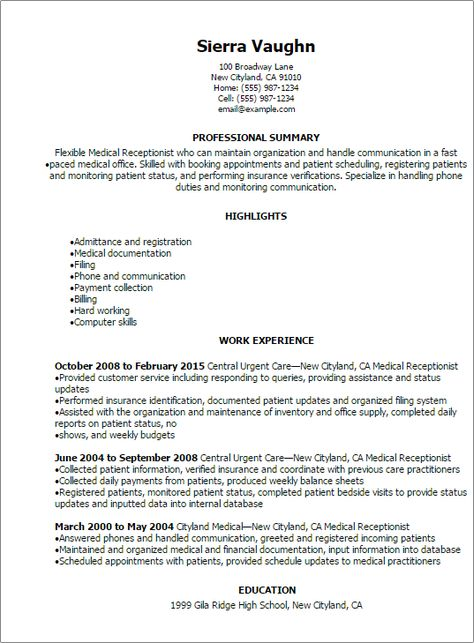 Resume Templates: Medical Receptionist Resume | Finley's Finds