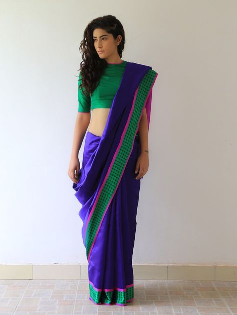 Buy Midnight Blue Fuchsia Green Mehjabeen Silk Saree By Raw Mango Sarees Woven Online at Jaypore.com