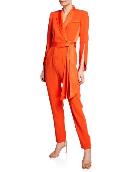 Diane von Furstenberg Womens Ruffle Front Jumpsuit