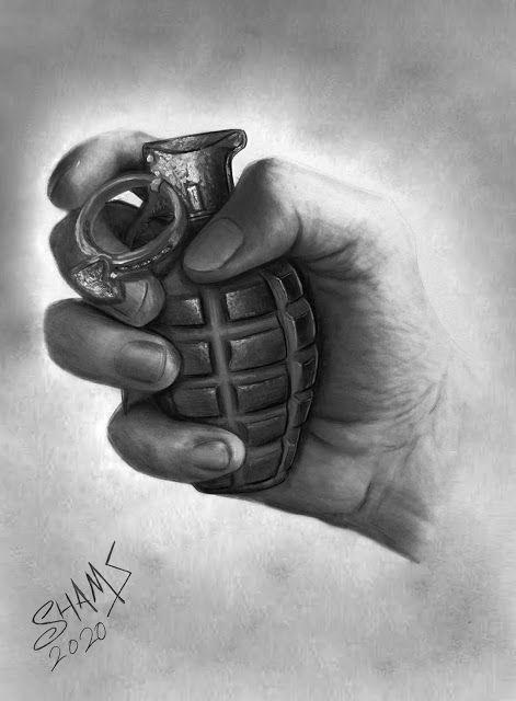مدونة شمس رسمة يد تحمل قنبلة يدوية بقلم الرصاص Art Inspiration Drawing Art Inspiration Art Photography