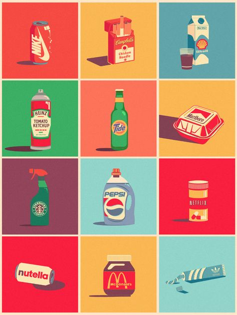 Graphic designer plays combining completely unrelated products and their logotypes