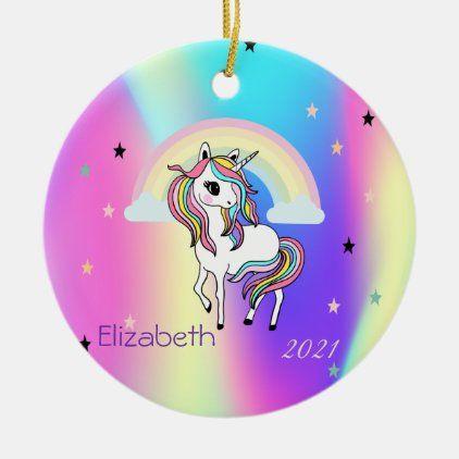 Rainbow Unicorn 2021 Christmas Ornament Magical Rainbow Unicorn Stars Holographic Ceramic Ornament Zazzle Com Magical Rainbow Ceramic Ornaments Rainbow Unicorn
