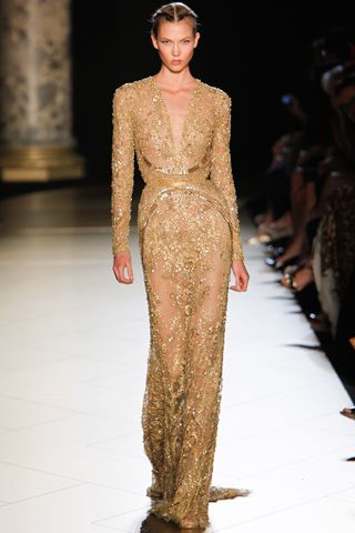 Incredible Details on this gold Elie Saab evening gown from Haute Couture F/W 2012-2013.