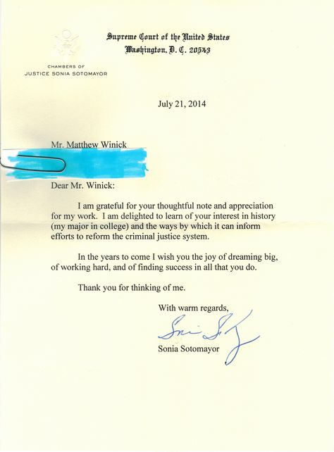 On 7\/25\/2014 I received a letter from Supreme Court Justice Sonia - nixon resignation letter