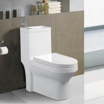 Wc A Poser Monobloc Avec Lave Main Integre Ceramique Blanc 39x68 Cm Creativ Leroy Merlin En 2021 Wc A Poser Lave Main Lave