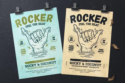 Rock Music Flyer Template PSD, AI