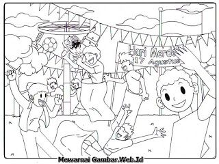 Mewarnai Gambar Hari Kemerdekaan Indonesia Buku Mewarnai Sketsa
