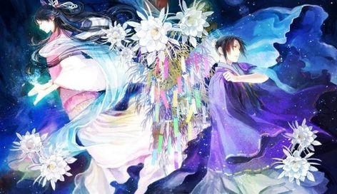 tanabata orihime hikoboshi vega altair a guy cartoon artwork Canvas Wall Poster