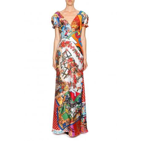 MOSCHINO Couture Robe longue imprimée foulard soie