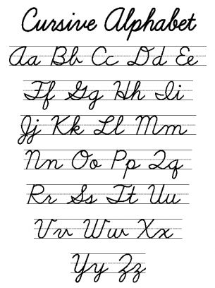 image relating to Free Printable Cursive Alphabet called Pinterest