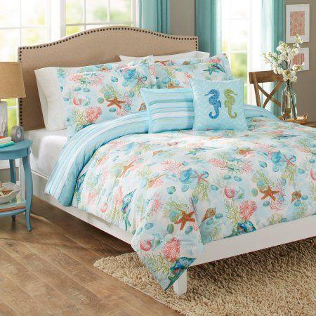Better Homes And Gardens Beach Day 5 Piece Comforter Set Peach 46900624 Full Queen Beach Bedding Sets Comforters Comforter Sets