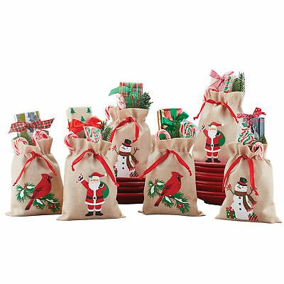 Christmas Gift Bags Burlap Set Of 6 Decorated Embroidered Holiday Festive Giving For Sale Online Ebay In 2020 Christmas Gift Bags Christmas Gifts Holiday Festival