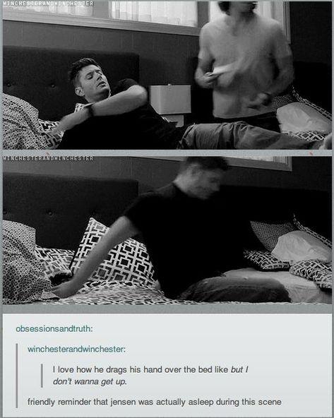 Just a reminder, he really did fall asleep during filming ~ Supernatural Sam Dean, Misha Collins, Destiel, Johnlock, Jensen Ackles, Jared Padalecki, Bobby, Got Anime, Captive Prince