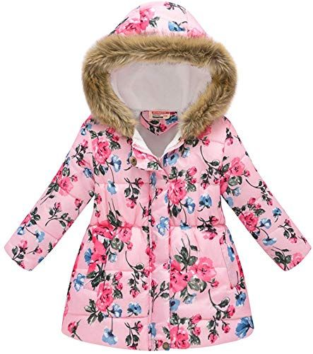 Franterd Little Boys Girls Floral Butterfly Warm Jacket Lightweight Windproof Zipper Pockets Hooded Long Coats