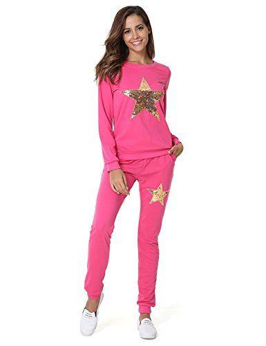1546e9079a nice Hownew-X Damen Frottee Schlafanzüge mit Sterne Muster Elegant Pyjama  Oberteile und Hose Set