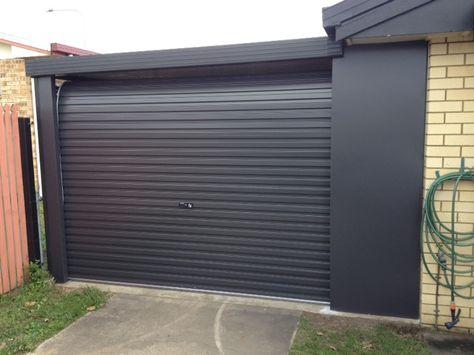 Graphite Grey Contemporary Garage Door With Matching Surround By Doors Direct Brisbane Garage Doors Contemporary Garage Doors Garage Door Styles
