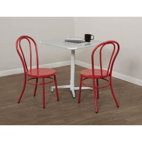 Odessa Red Metal Dining Chair Set Of 2 Solid Red Plastic