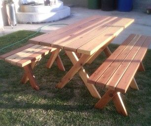 Free DIY Furniture Plans To Build A PotteryBarn Inspired Chesapeake Picnic  Bench For Under $25 | The Design Confidential | DIY Outdoor Furniture |  Pinterest ...