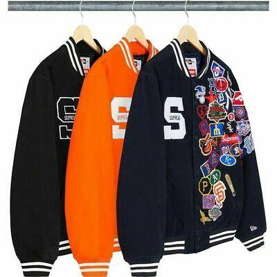 Ad Ebay Url 2020 Supreme New Era Mlb Varsity Jacket Any Size Color Box Logo Pre Order In 2020 Varsity Jacket Jackets Athletic Jacket