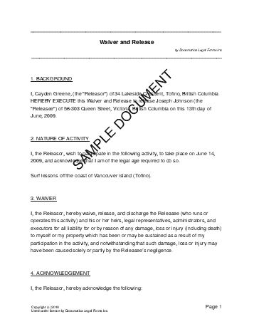 Printable Sample Liability Waiver Sample Form Download Real - waiver of liability