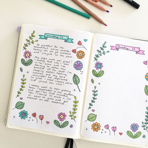 Printable floral journaling page in my bullet journal. Click through to download free printable template! #bulletjournal #bulletjournaling #bujo #bulletjournalprintable #journaling #benefitsofjournaling #dailjournalingpractice #planner #notebook
