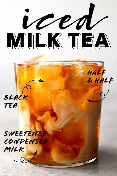 A refreshing iced milk tea made with black tea, sweetened condensed milk, and half & half. It's sweet, creamy, and hits the spot on hot summer days. Non Alcoholic Drinks, Cocktail Drinks, Fun Drinks, Yummy Drinks, Healthy Drinks, Beverages, Cocktails, Milk Tea Recipes, Iced Tea Recipes