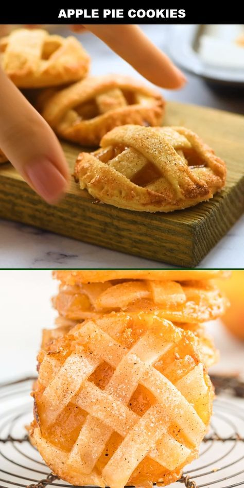 These apple pie cookies are everything you love about a classic apple pie baked in a fun, mini version. A simple pie dough with a warm, bubbly filling of apples and cinnamon sugar makes for the best dessert. After baking to a flaky, golden-brown crust, ea Apple Pie Recipes, Easy Cookie Recipes, Sweet Recipes, Baking Apple Pie, Simple Apple Pie Recipe, Apple Fritter Recipes, Mini Dessert Recipes, Cinnamon Recipes, Cookie Ideas