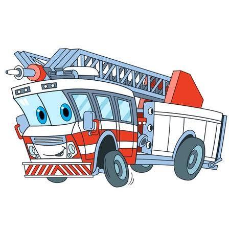 Transporte De Emergencia De Dibujos Animados Camion De Bomberos Aislado Sobre Fondo Blanco Ilustracion Infantil Y La Pagina De Libro Colorido Para Los Ninos Dibujos Animados Paginas De Libros Dibujos